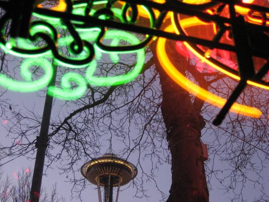 The space needle with branches and neon