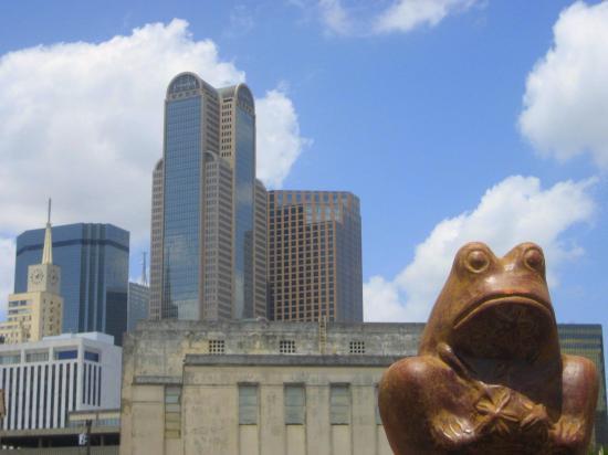 Ceramic frog at the Dallas Farmers Market.