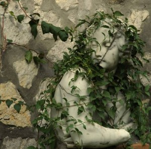 Vine covered statue. photo by Tui Cameron