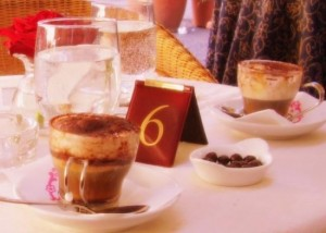 Sipping a yummy caffe Brasiliana in Naples, Italy