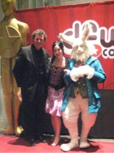 Me, my fiance and the White Rabbit at the 2011 Oscar Party in Fort Worth, Texas.