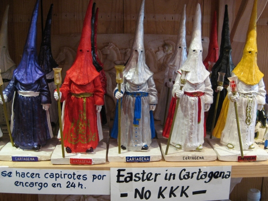 Figurine displaying traditional Spanish Easter garb in Cartagena, Spain (photo by Tui Cameron)
