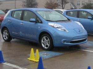 Test driving a Nissan Leaf. (photo by Tui Cameron)