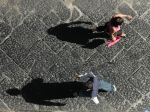 Looking down from a balcony in Naples, Italy (photo by Tui Cameron)