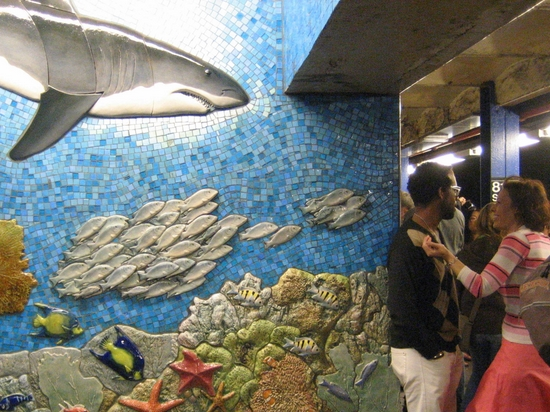 Landshark sighting in the NYC subway. (photo by Tui Cameron)