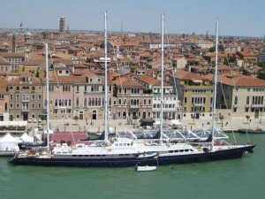 Huge sailboat dwarfs Venice, Italy. (photo by Tui Snider)
