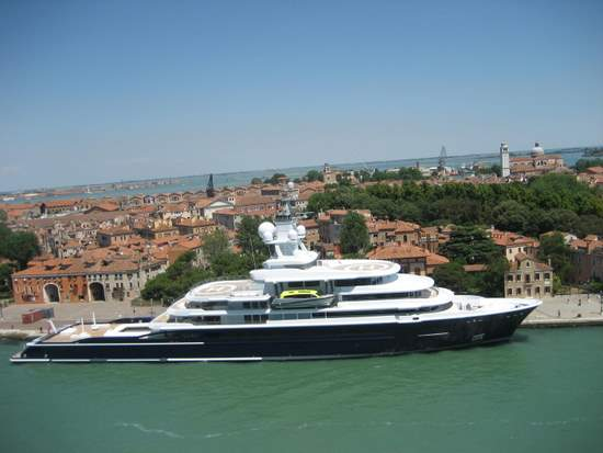 This ship in Venice, Italy features two helipads. (photo by Tui Snider)