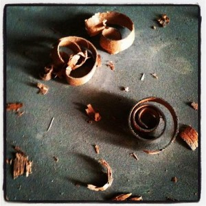 Mahogany wood shavings (photo by Tui Snider)