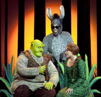 Shrek (Eric Petersen), Donkey (Alan Mingo, Jr.) and Princess Fiona (Haven Burton)