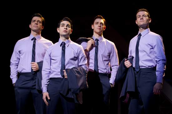 Jersey Boys - Brandon Andrus, Brad Weinstock, Jason Kappus and Colby Foytik  (photo by Joan Marcus)