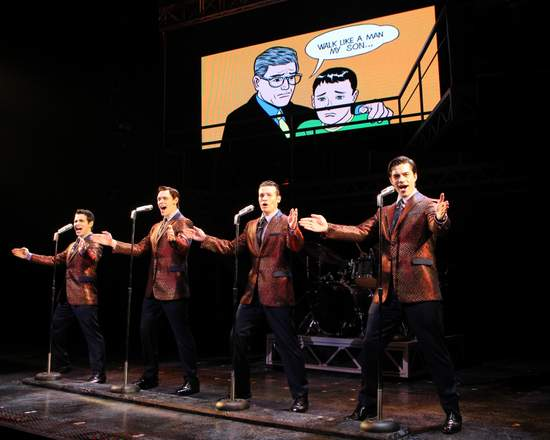 Jersey Boys - Brad Weinstock, Jason Kappus, Colby Foytik and Brandon Andrus  (photo by Joan Marcus)