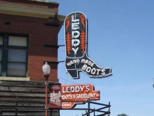 Famous cowboy boot maker in the Fort Worth Stockyards (photo by Tui Snider)