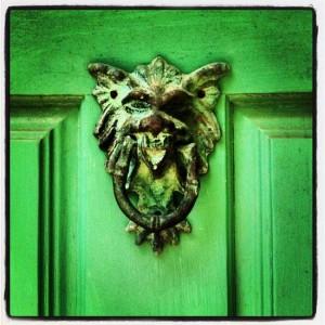 Greenman door knocker at Chandor Gardens in Weatherford, TX (photo by Tui Snider)
