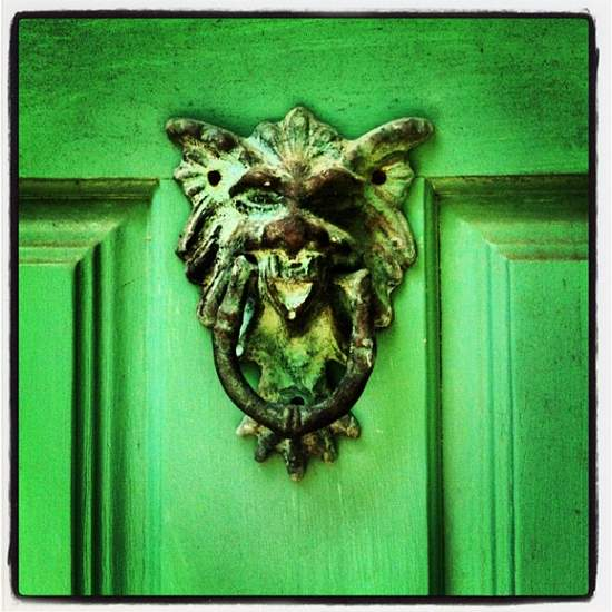 Greenman door knocker at Chandor Gardens in Weatherford, TX (photo by Tui Snider)