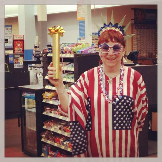 Lady dressed up for Flag Day in Texas (photo by Tui Snider)