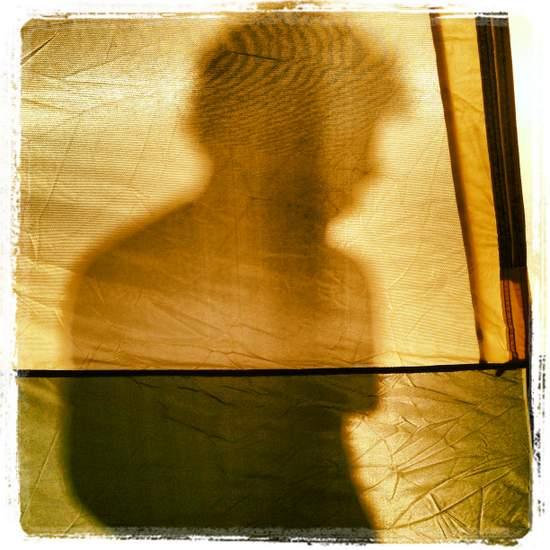 Shadows through my tent upon wakening (photo by Tui Snider)