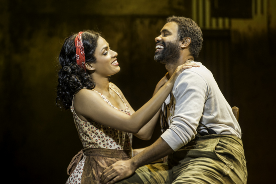 Alicia Hall Moran as Bess and Nathaniel Stampley as Porgy in the The Gershwins' Porgy and Bess. Photo by Michael J. Lutch.