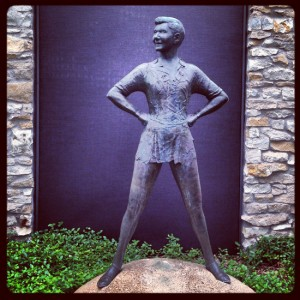 Statue of Mary Martin as Peter Pan in Weatherford, Texas (photo by Tui Snider)