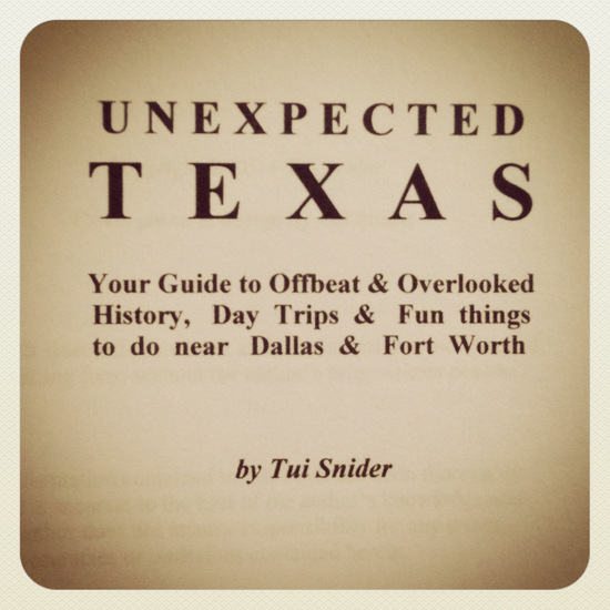 Picture of my Texas travel guide manuscript (photo by Tui Snider)