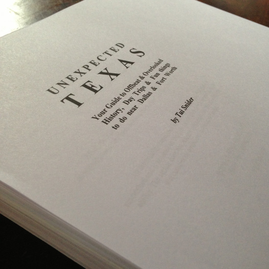 Another shot of my Texas travel guide manuscript (photo by Tui Snider)