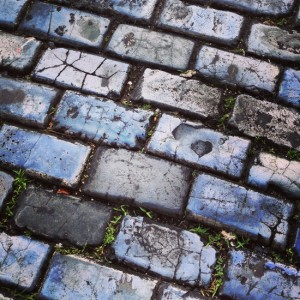 Blue-tinged cobblestones in San Juan, Puerto Rico (photo by Tui Snider)