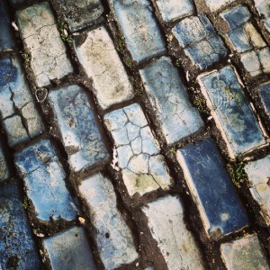 Blue-tinged cobblestones in San Juan, Puerto Rico (photo by Tui Snider)