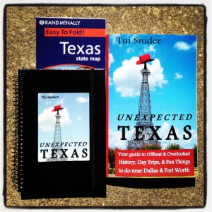 #UnexTex Unexpected Texas book release prizes (photo by Tui Snider)