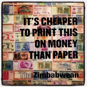 Poster made from Zimbabwe money (photo by Tui Snider)