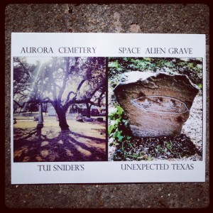 This Aurora Cemetery postcard shows the alien headstone that has since been stolen! (photo by Tui Snider)