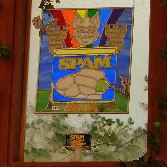 SPAM, Saturn and Tardis stained glass window (photo by Tui Snider)