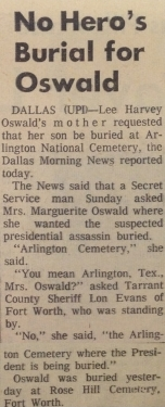 Oswald's mom wanted him buried in Arlington National Cemetery