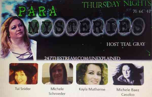 Tui Snider co-hosts Para Mysteries Radio on the 1st Thurs of each month!