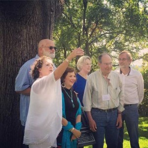 6 Texas Poet Laureates under the Poet Tree at the 2015 Langdon Review Weekend in Granbury, Texas (photo by Tui Snider)