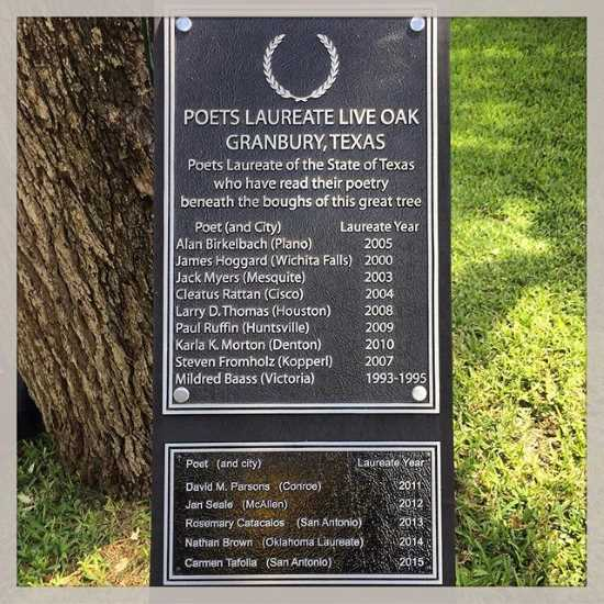 List of Texas Poet Laureates who have read poetry under the Poet Tree at the 2015 Langdon Review Weekend in Granbury, Texas (photo by Tui Snider)