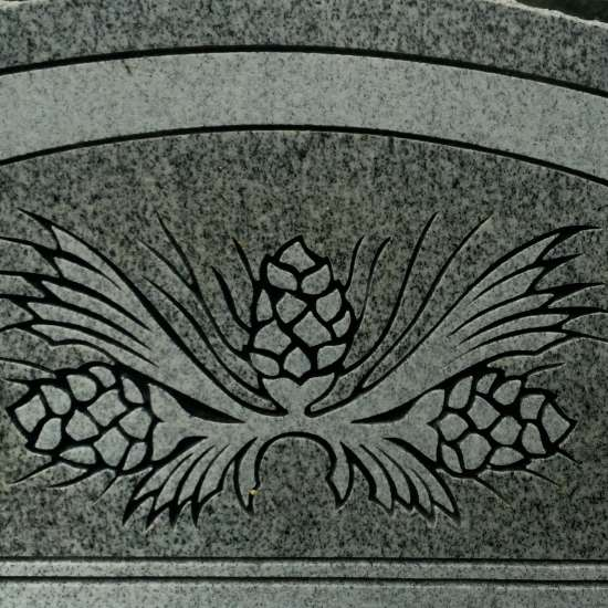 Pine cones on a historic cemetery grave marker. (photo by Tui Snider)