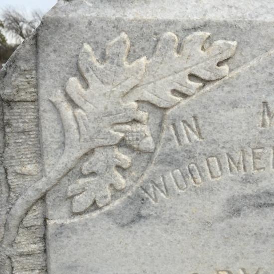 Oak leaf & acorn on a historic cemetery headstone (photo by Tui Snider)