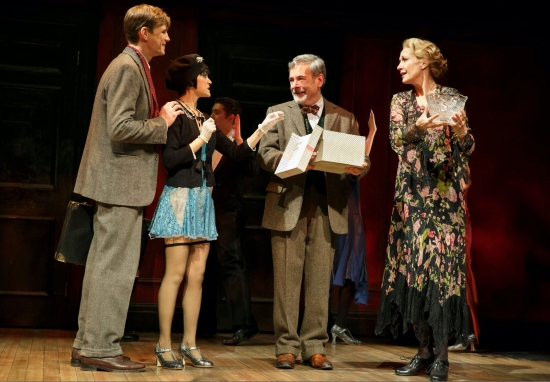 Lee Aaron Rosen as Clifford Bradshaw, Andrea Goss as Sally Bowles, Mark Nelson as Herr Schultz and Shannon Cochran as Fräulein Schneider in the 2016 National Touring production of Roundabout Theatre Company's CABARET. Photo by Joan Marcus