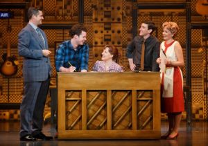 "Curt Bouril (""Don Kirshner""), Liam Tobin (""Gerry Goffin""), Abby Mueller (""Carole King""), Ben Fankhauser (""Barry Mann"") and Becky Gulsvig (""Cynthia Weil""). Beautiful: The Carole King Musical. Photo by Joan Marcus"