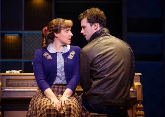"Abby Mueller (""Carole King"") and Liam Tobin (""Gerry Goffin"") Beautiful: The Carole King Musical. Photo by Joan Marcus"
