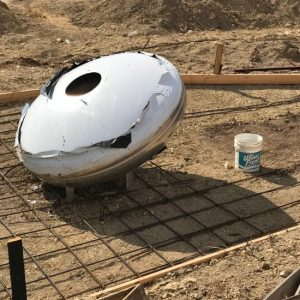A sculpture commemorating the 1897 UFO crash in Aurora, Texas is now underway! (photo by Tui Snider)