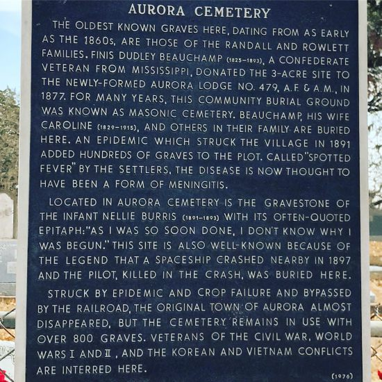 Aurora, Texas historic graveyard with marker describing 1897 UFO crash! (photo by Tui Snider)