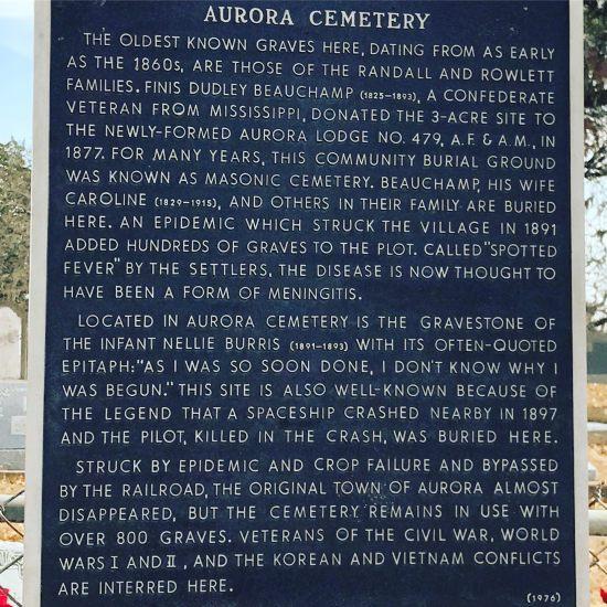 Aurora, Texas historic graveyard with marker describing 1897 UFO crash! (photo by Tui Snider)