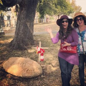 Me & author, Donna Latham, at the new grave marker for the 1897 UFO space alien in Aurora, Texas (photo by Larry Snider)