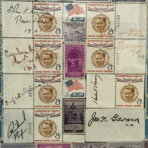 Signatures of US Presidents on the postage stamp mural by Marene Johnson Johnson in Eastland, Texas (photo by Tui Snider)
