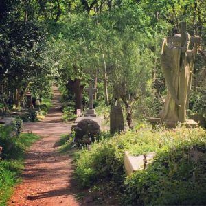 London's Highgate Cemetery is full of statues of saints. (photo by Tui Snider