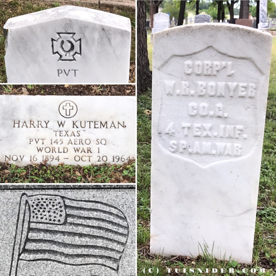 US Military headstones in Weatherford, Texas (photo by Tui Snider)