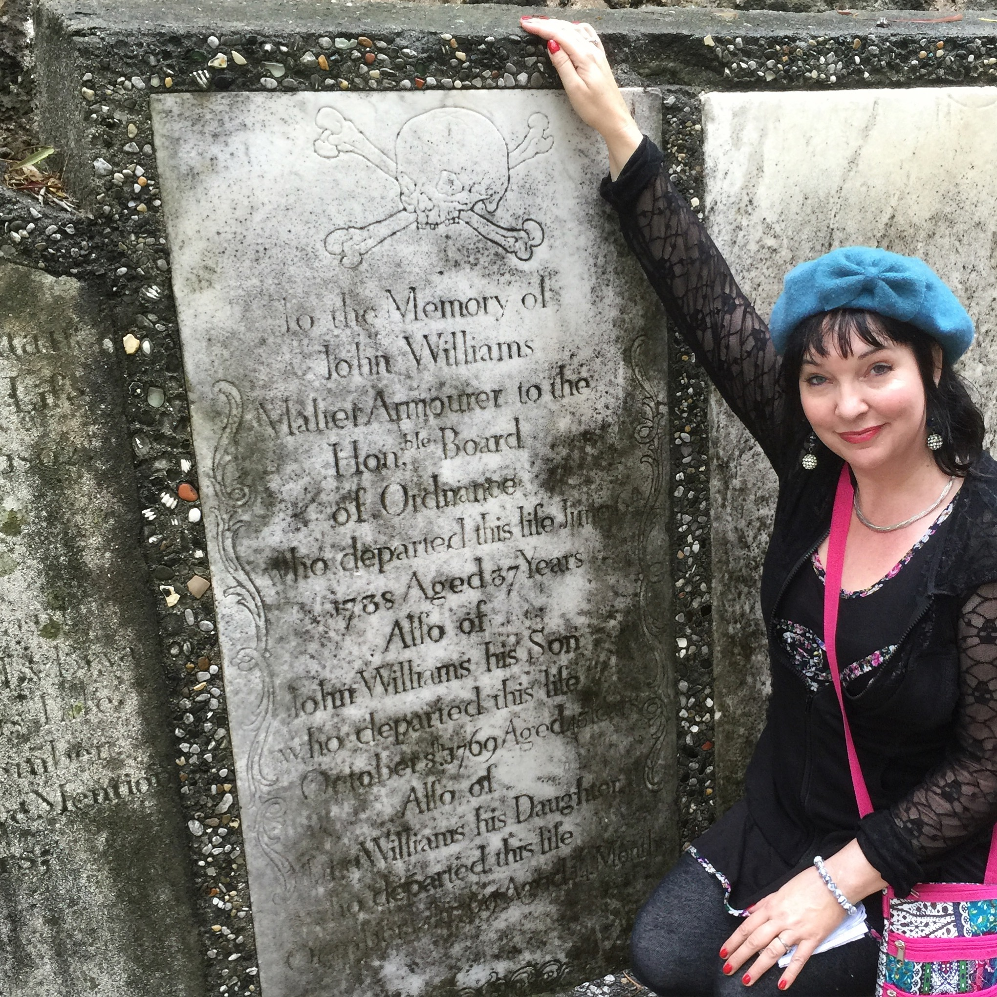 Tui Snider out exploring a historic cemetery.