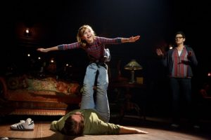 Carly Gold as 'Small Alison,' Robert Petkoff as 'Bruce' and Kate Shindle as 'Alison' in Fun Home (c) Joan Marcus