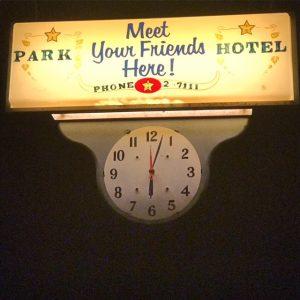 Vintage sign at the haunted Old Park Hotel in West Texas (photo by Tui Snider)