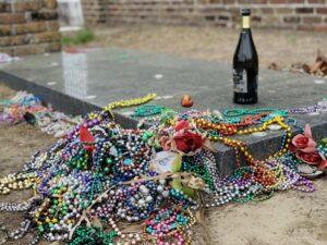 Mardi gras beads as grave goods. (photo (c) Tui Snider)